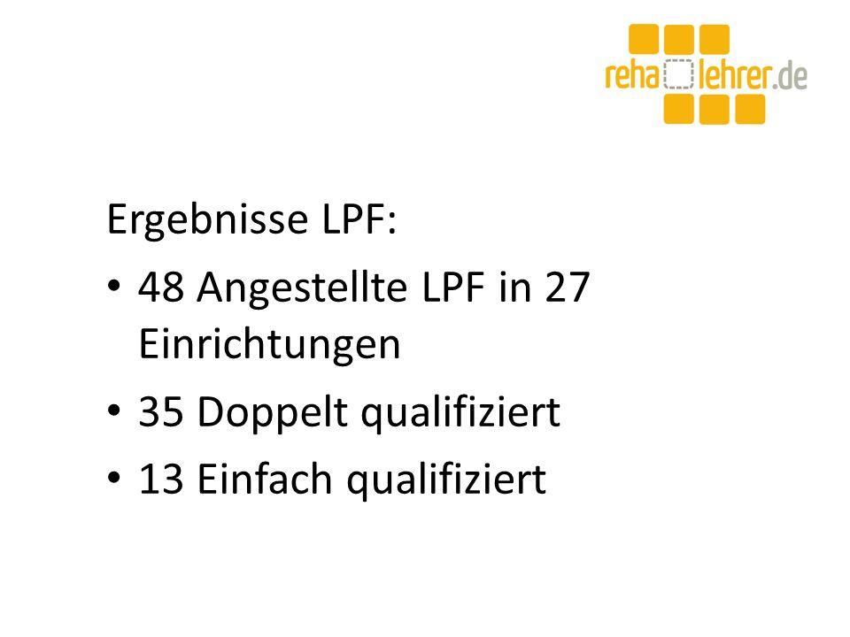 Ergebnisse LPF: 48 Angestellte LPF in 27 Einrichtungen 35 Doppelt qualifiziert 13 Einfach qualifiziert
