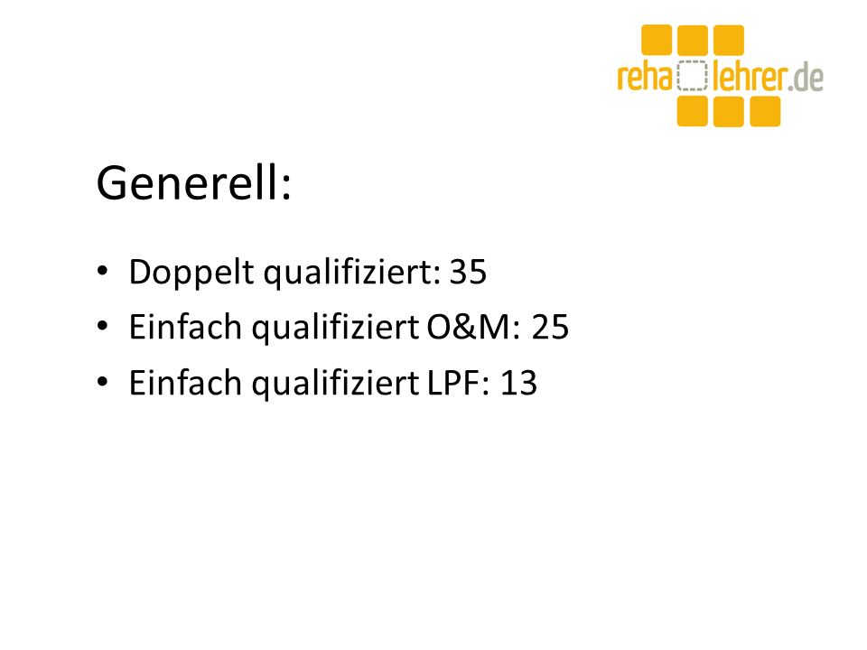 Generell: Doppelt qualifiziert: 35 Einfach qualifiziert O&M: 25 Einfach qualifiziert LPF: 13