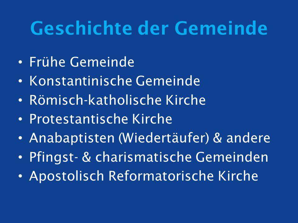 Geschichte der Gemeinde Frühe Gemeinde Konstantinische Gemeinde Römisch-katholische Kirche Protestantische Kirche Anabaptisten (Wiedertäufer) & andere