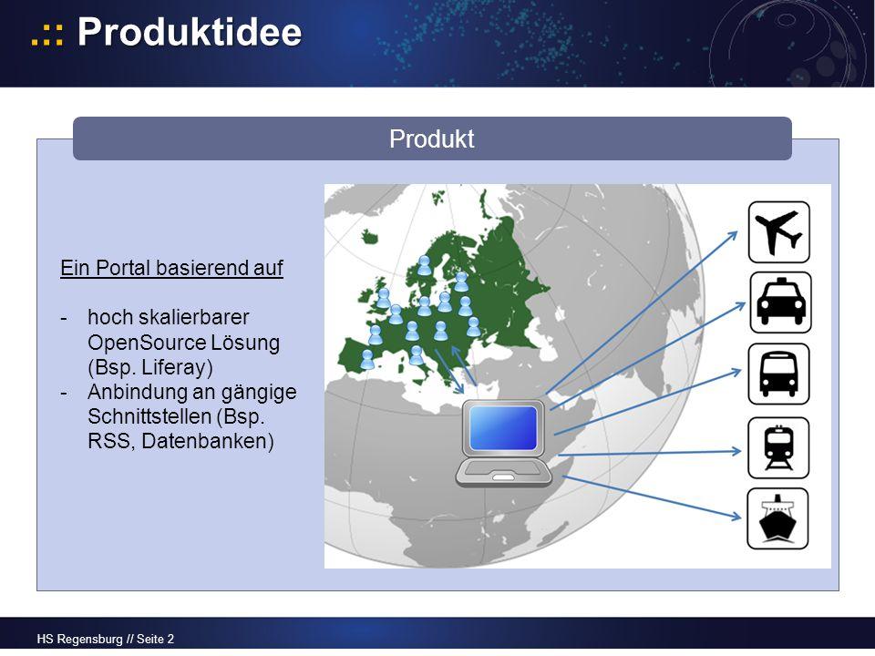 HS Regensburg // Seite 2.:: Produktidee Produkt Ein Portal basierend auf -hoch skalierbarer OpenSource Lösung (Bsp.