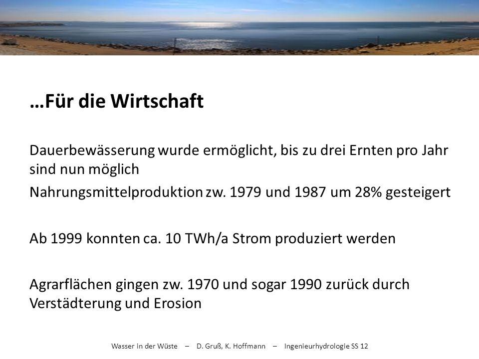 Wasser in der Wüste – D. Gruß, K. Hoffmann – Ingenieurhydrologie SS 12 …Für die Wirtschaft Dauerbewässerung wurde ermöglicht, bis zu drei Ernten pro J
