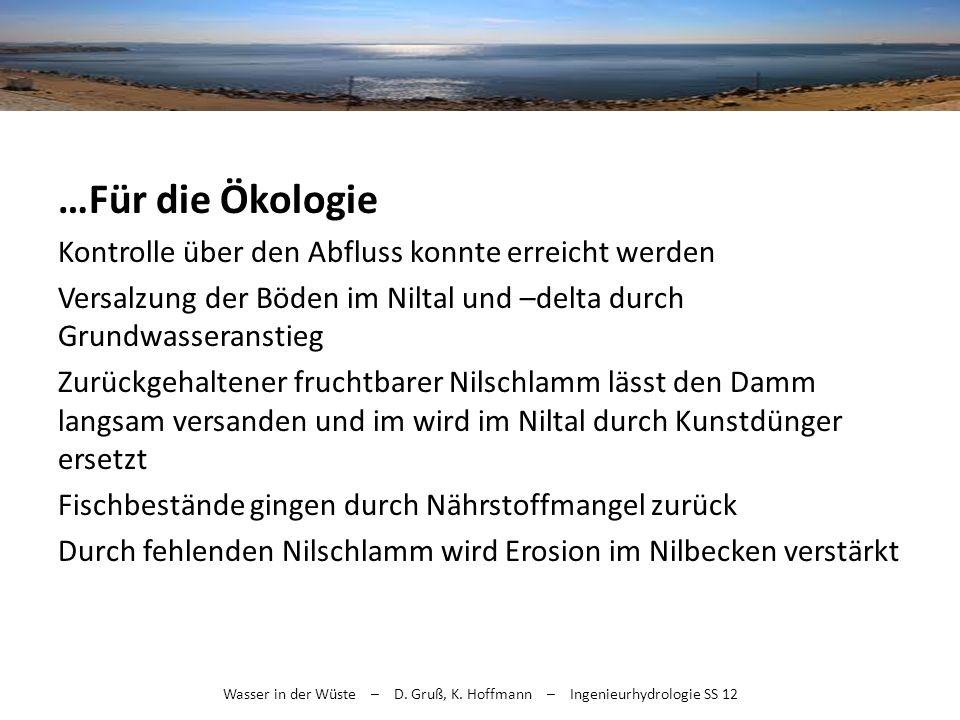 Wasser in der Wüste – D. Gruß, K. Hoffmann – Ingenieurhydrologie SS 12 …Für die Ökologie Kontrolle über den Abfluss konnte erreicht werden Versalzung