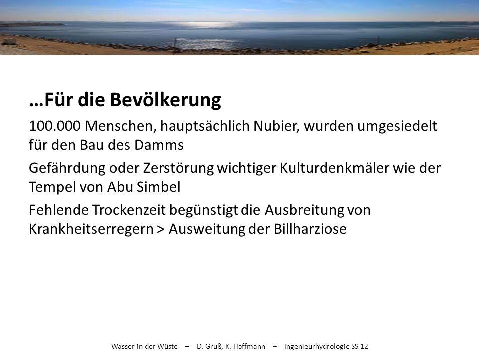 Wasser in der Wüste – D. Gruß, K. Hoffmann – Ingenieurhydrologie SS 12 …Für die Bevölkerung 100.000 Menschen, hauptsächlich Nubier, wurden umgesiedelt