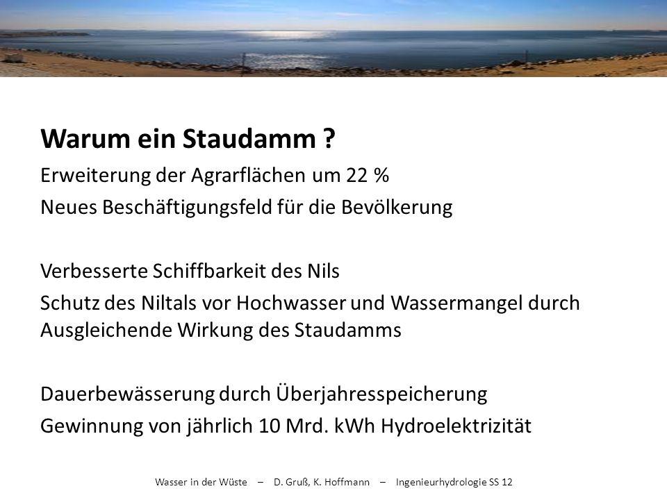 Wasser in der Wüste – D. Gruß, K. Hoffmann – Ingenieurhydrologie SS 12 Warum ein Staudamm ? Erweiterung der Agrarflächen um 22 % Neues Beschäftigungsf