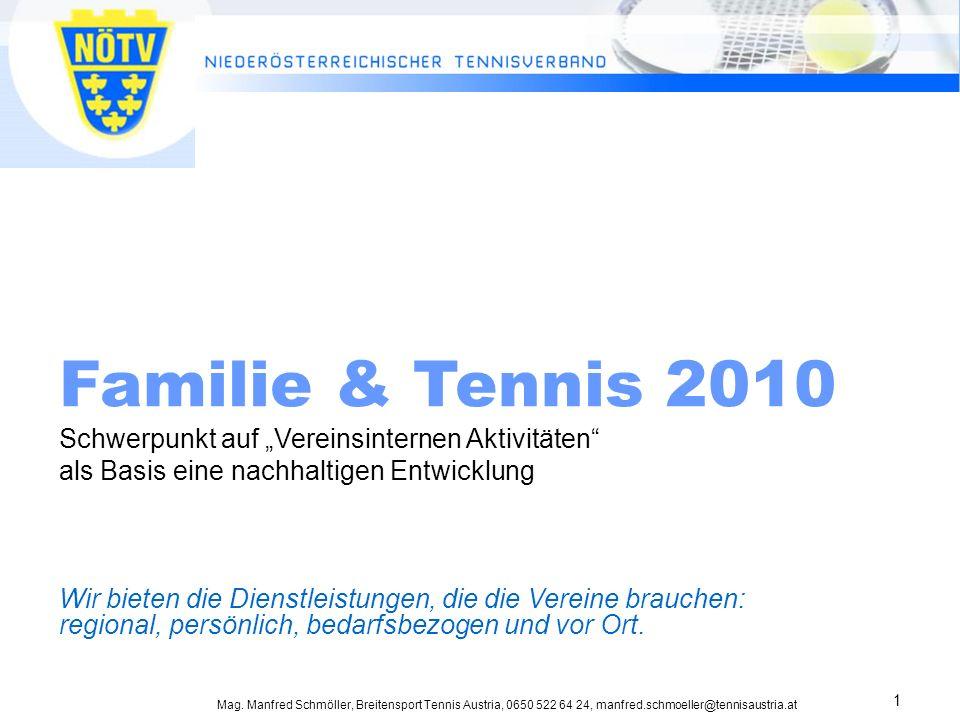 Mag. Manfred Schmöller, Breitensport Tennis Austria, 0650 522 64 24, manfred.schmoeller@tennisaustria.at 1 Familie & Tennis 2010 Schwerpunkt auf Verei