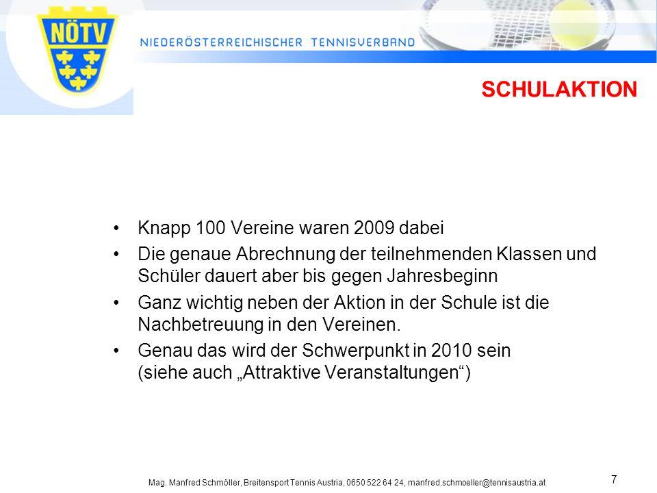 Mag. Manfred Schmöller, Breitensport Tennis Austria, 0650 522 64 24, manfred.schmoeller@tennisaustria.at 7 SCHULAKTION Knapp 100 Vereine waren 2009 da