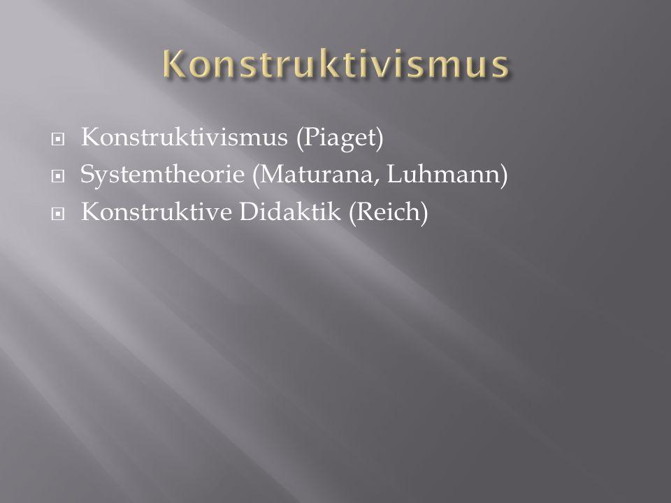 Konstruktivismus (Piaget) Systemtheorie (Maturana, Luhmann) Konstruktive Didaktik (Reich)