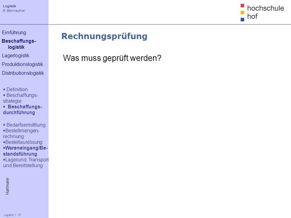 Logistik B. Bärnreuther 31 Logistik 1: 31 Einführung Beschaffungs- logistik Lagerlogistik Produktionslogistik Distributionslogistik Rechnungsprüfung W