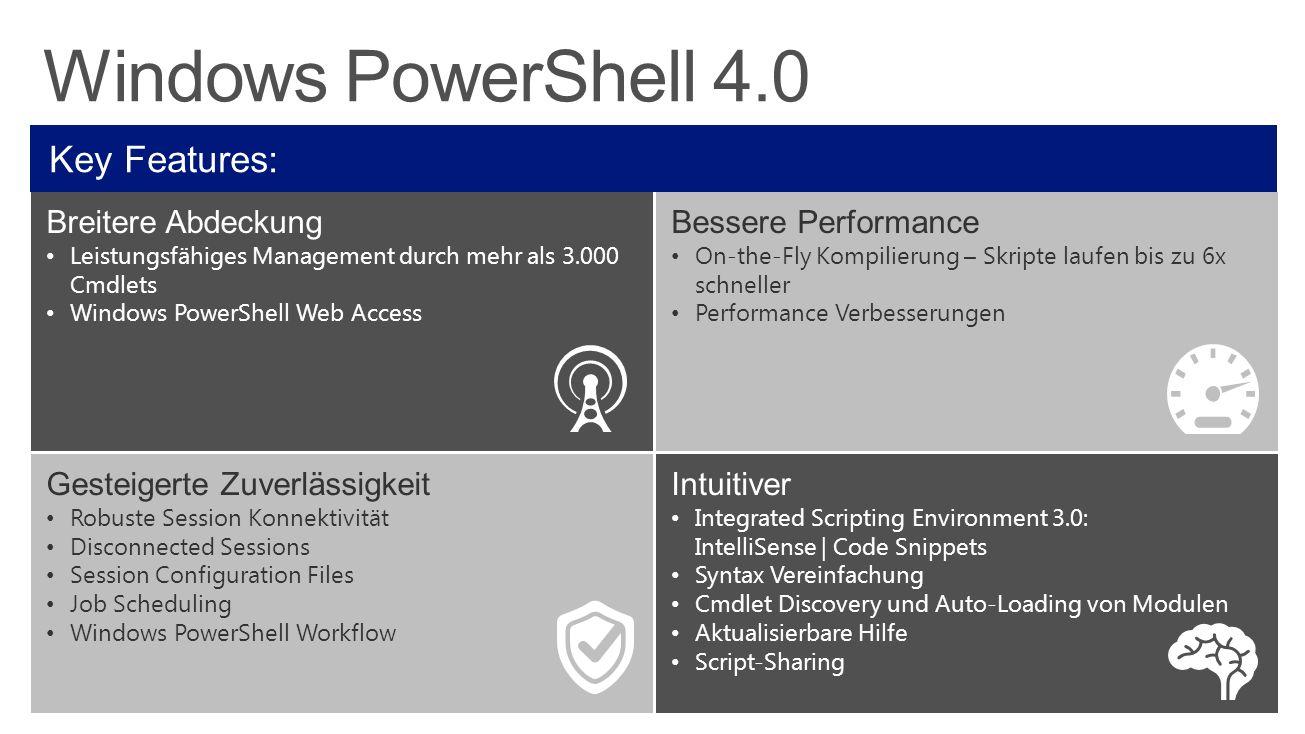 Windows PowerShell 4.0 Key Features: Breitere Abdeckung Leistungsfähiges Management durch mehr als 3.000 Cmdlets Windows PowerShell Web Access Bessere Performance On-the-Fly Kompilierung – Skripte laufen bis zu 6x schneller Performance Verbesserungen Gesteigerte Zuverlässigkeit Robuste Session Konnektivität Disconnected Sessions Session Configuration Files Job Scheduling Windows PowerShell Workflow Intuitiver Integrated Scripting Environment 3.0: IntelliSense | Code Snippets Syntax Vereinfachung Cmdlet Discovery und Auto-Loading von Modulen Aktualisierbare Hilfe Script-Sharing