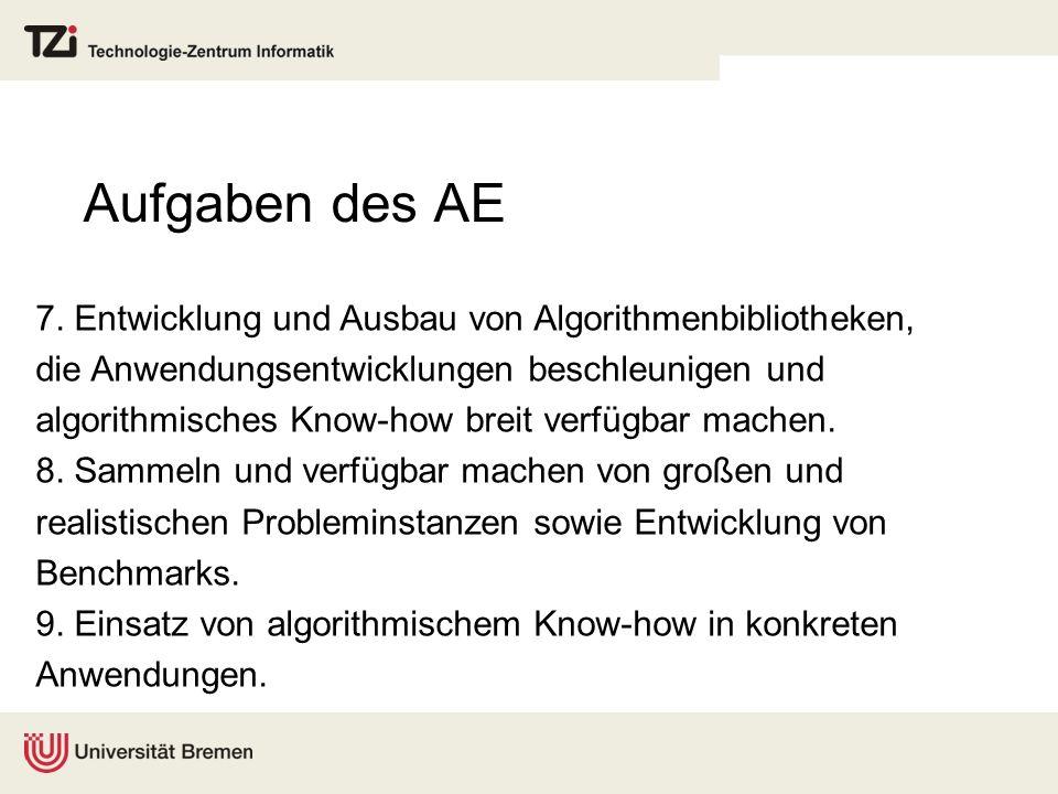 Aufgaben des AE 7. Entwicklung und Ausbau von Algorithmenbibliotheken, die Anwendungsentwicklungen beschleunigen und algorithmisches Know-how breit ve