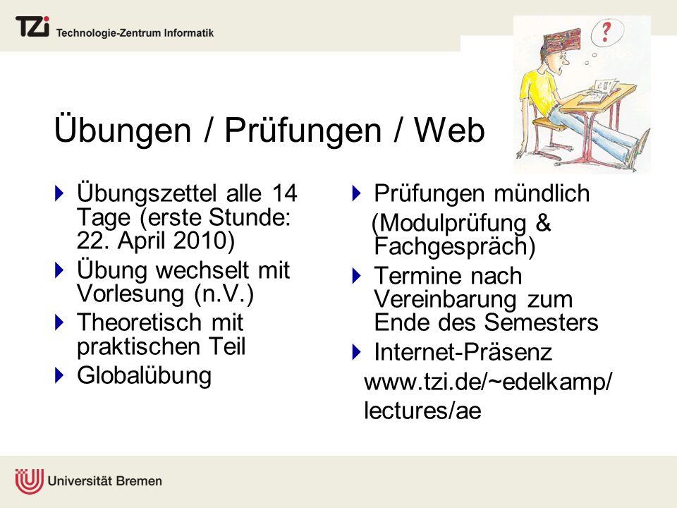Übungen / Prüfungen / Web Übungszettel alle 14 Tage (erste Stunde: 22. April 2010) Übung wechselt mit Vorlesung (n.V.) Theoretisch mit praktischen Tei