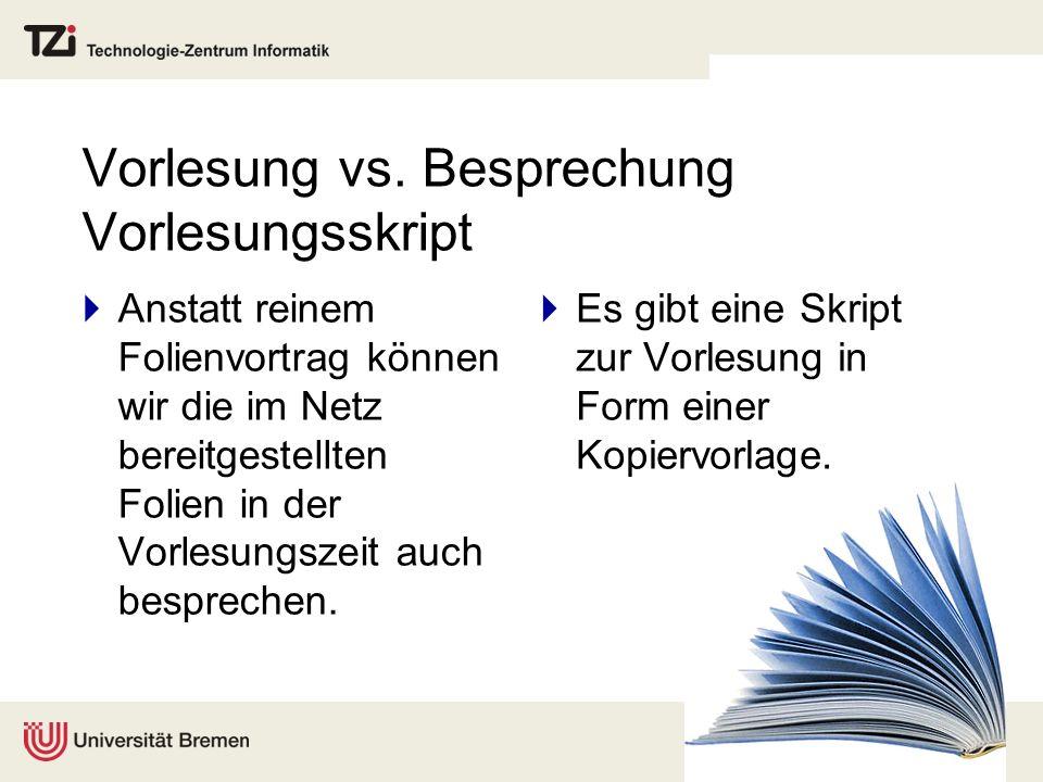 Vorlesung vs. Besprechung Vorlesungsskript Anstatt reinem Folienvortrag können wir die im Netz bereitgestellten Folien in der Vorlesungszeit auch besp