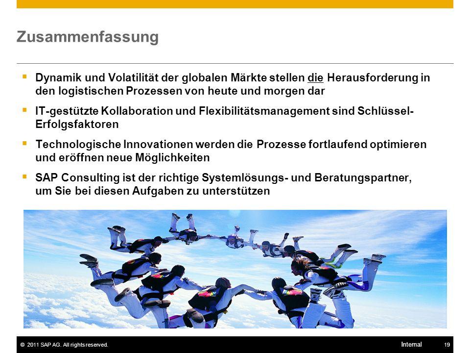 ©2011 SAP AG. All rights reserved.19 Internal Dynamik und Volatilität der globalen Märkte stellen die Herausforderung in den logistischen Prozessen vo