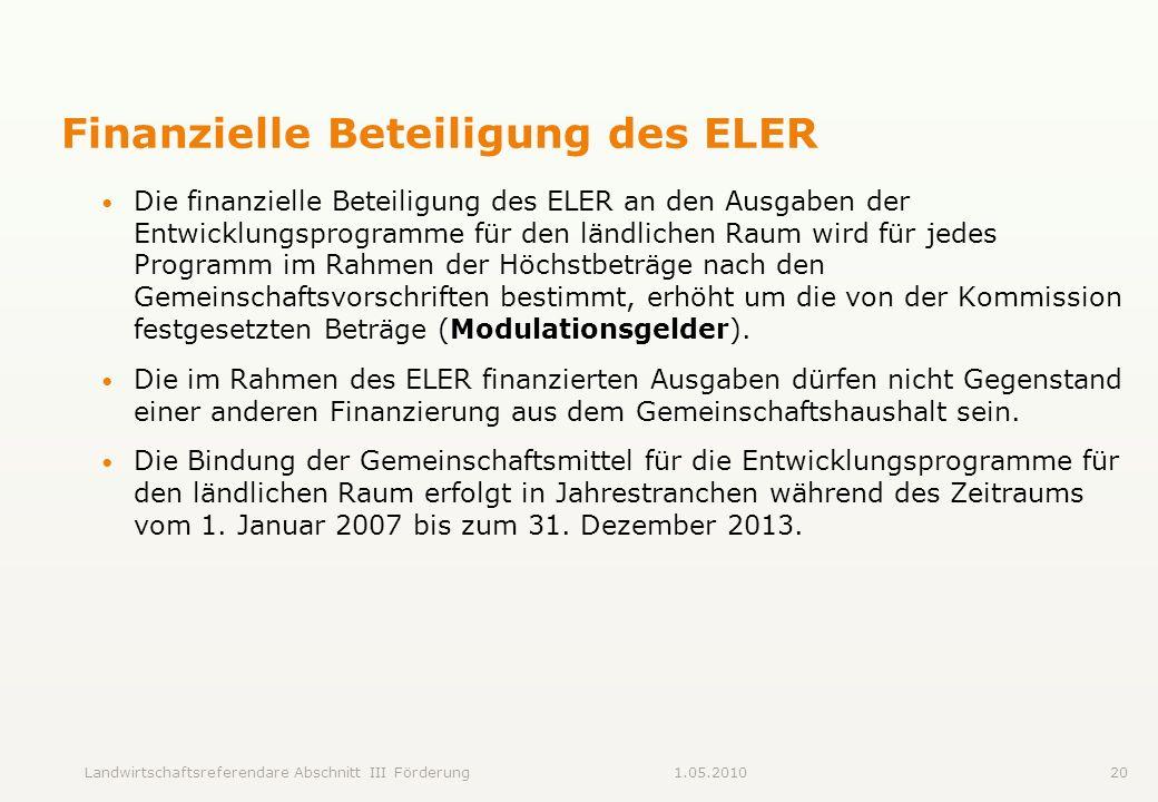 Landwirtschaftsreferendare Abschnitt III Förderung201.05.2010 Finanzielle Beteiligung des ELER Die finanzielle Beteiligung des ELER an den Ausgaben de