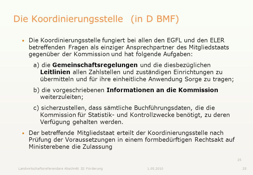 Landwirtschaftsreferendare Abschnitt III Förderung251.05.2010 25 Die Koordinierungsstelle (in D BMF) Die Koordinierungsstelle fungiert bei allen den E
