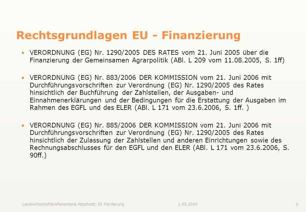 Landwirtschaftsreferendare Abschnitt III Förderung31.05.2010 Rechtsgrundlagen EU - Finanzierung VERORDNUNG (EG) Nr. 1290/2005 DES RATES vom 21. Juni 2