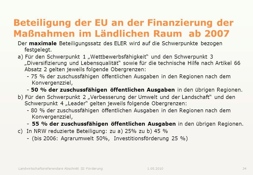 Landwirtschaftsreferendare Abschnitt III Förderung341.05.2010 Beteiligung der EU an der Finanzierung der Maßnahmen im Ländlichen Raum ab 2007 Der maxi
