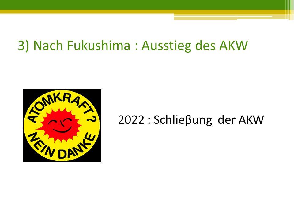 3) Nach Fukushima : Ausstieg des AKW 2022 : Schlieβung der AKW