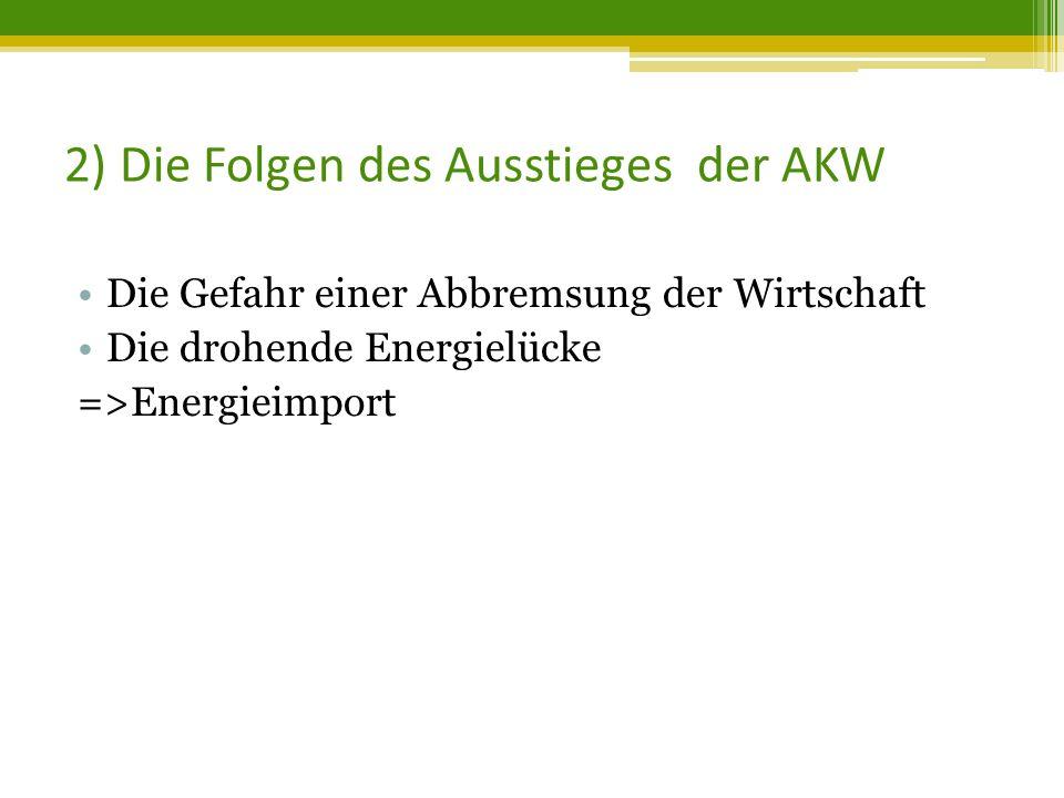 2) Die Folgen des Ausstieges der AKW Die Gefahr einer Abbremsung der Wirtschaft Die drohende Energielücke =>Energieimport