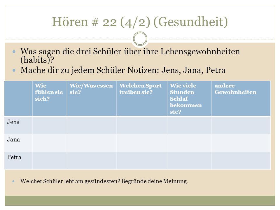 Hören # 22 (4/2) (Gesundheit) Was sagen die drei Schüler über ihre Lebensgewohnheiten (habits).