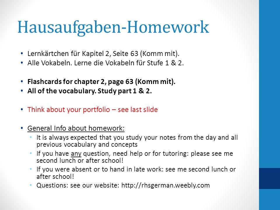 Hausaufgaben-Homework Lernkärtchen für Kapitel 2, Seite 63 (Komm mit). Alle Vokabeln. Lerne die Vokabeln für Stufe 1 & 2. Flashcards for chapter 2, pa