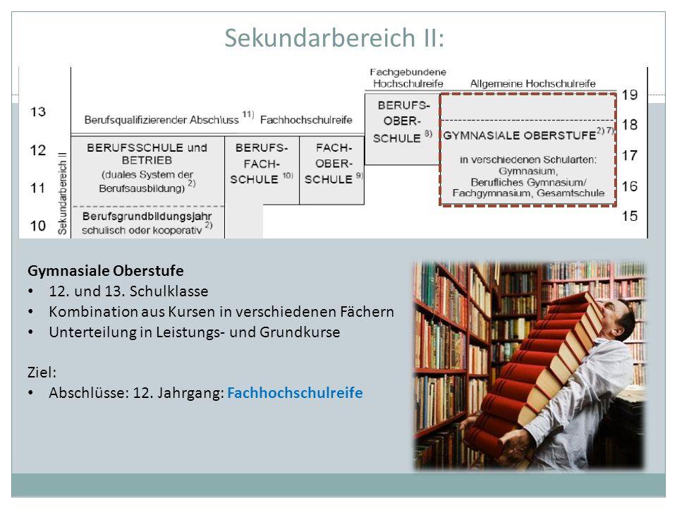 Sekundarbereich II: Gymnasiale Oberstufe 12. und 13. Schulklasse Kombination aus Kursen in verschiedenen Fächern Unterteilung in Leistungs- und Grundk