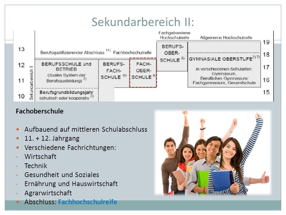 Sekundarbereich II: Fachoberschule Aufbauend auf mittleren Schulabschluss 11. + 12. Jahrgang Verschiedene Fachrichtungen: - Wirtschaft - Technik - Ges