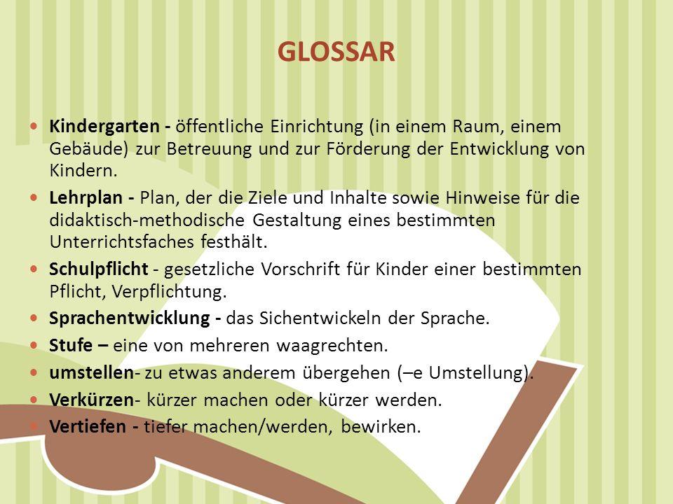 GLOSSAR Kindergarten - öffentliche Einrichtung (in einem Raum, einem Gebäude) zur Betreuung und zur Förderung der Entwicklung von Kindern. Lehrplan -