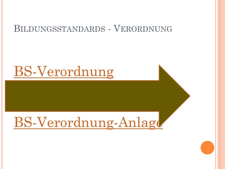B ILDUNGSSTANDARDS - V ERORDNUNG BS-Verordnung BS-Verordnung-Anlage