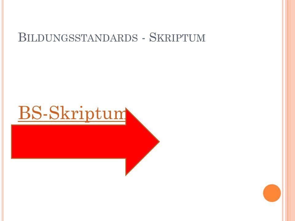 B ILDUNGSSTANDARDS - S KRIPTUM BS-Skriptum
