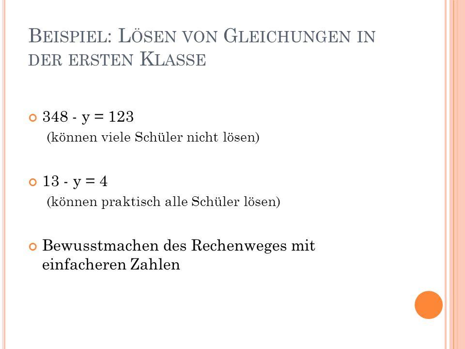 B EISPIEL : L ÖSEN VON G LEICHUNGEN IN DER ERSTEN K LASSE 348 - y = 123 (können viele Schüler nicht lösen) 13 - y = 4 (können praktisch alle Schüler lösen) Bewusstmachen des Rechenweges mit einfacheren Zahlen