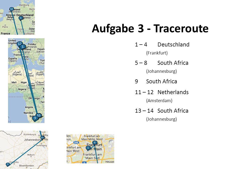 Aufgabe 3 - Traceroute 1 – 4Deutschland (Frankfurt) 5 – 8South Africa (Johannesburg) 9South Africa 11 – 12Netherlands (Amsterdam) 13 – 14South Africa (Johannesburg)