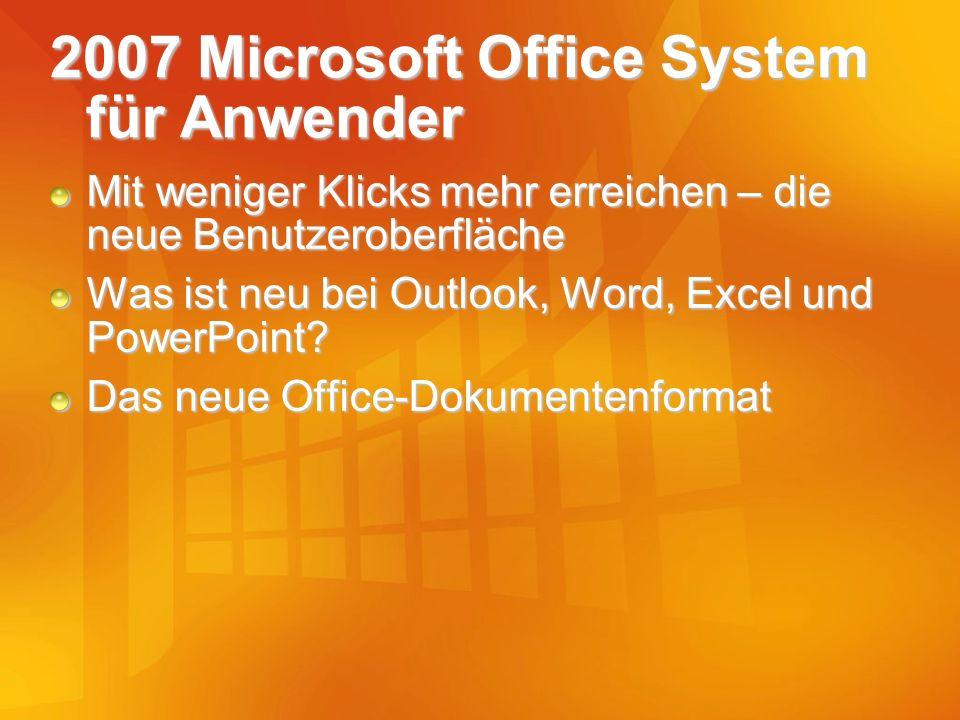 2007 Microsoft Office System für Anwender Mit weniger Klicks mehr erreichen – die neue Benutzeroberfläche Was ist neu bei Outlook, Word, Excel und Pow