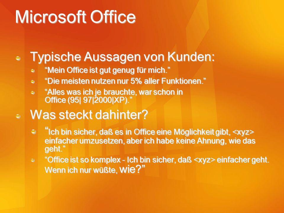Microsoft Office Typische Aussagen von Kunden: Mein Office ist gut genug für mich. Die meisten nutzen nur 5% aller Funktionen. Alles was ich je brauch