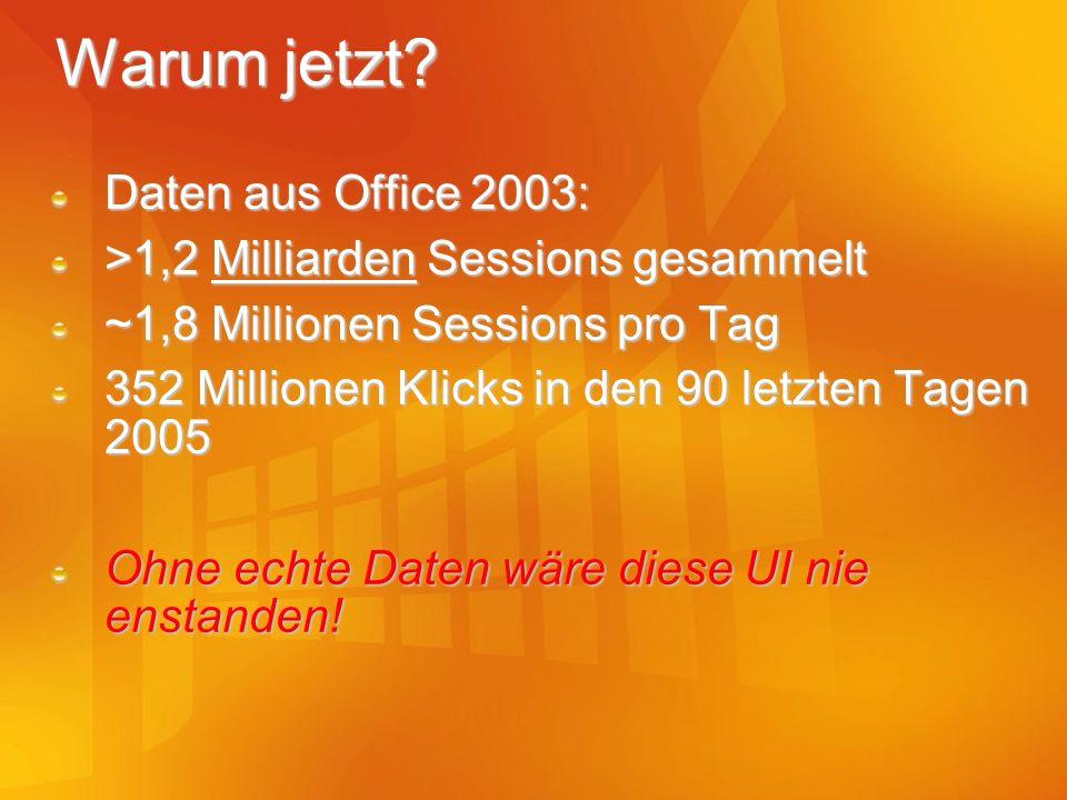 Warum jetzt? Daten aus Office 2003: >1,2 Milliarden Sessions gesammelt ~1,8 Millionen Sessions pro Tag 352 Millionen Klicks in den 90 letzten Tagen 20