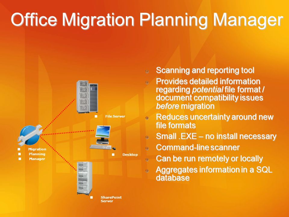 Office Migration Planning Manager Scanning and reporting tool Provides detailed information regarding potential file format / document compatibility i