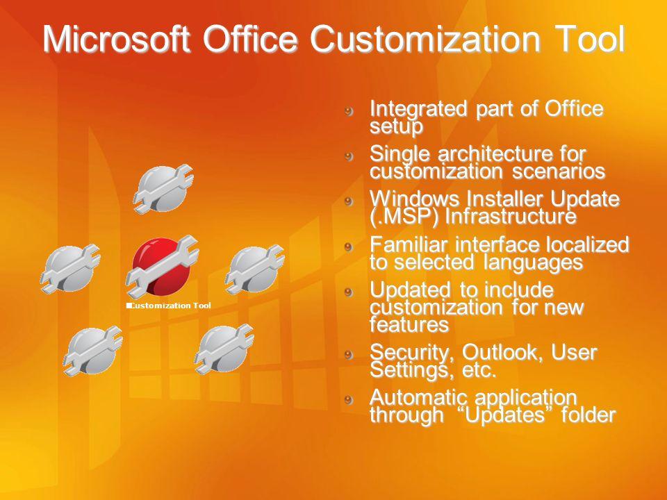 Integrated part of Office setup Single architecture for customization scenarios Windows Installer Update (.MSP) Infrastructure Familiar interface loca