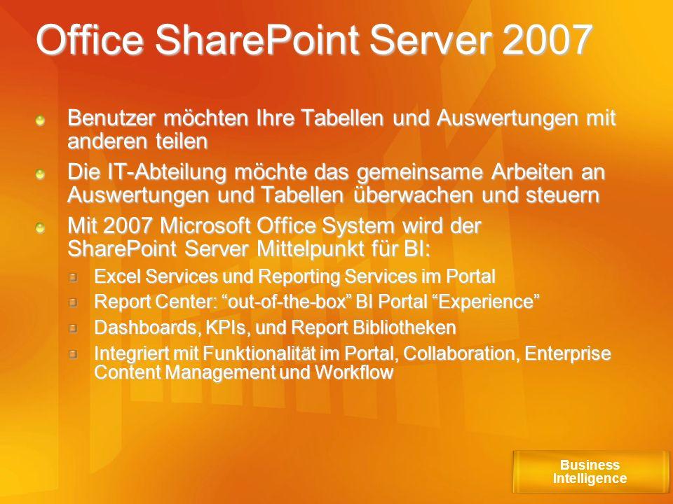 Office SharePoint Server 2007 Benutzer möchten Ihre Tabellen und Auswertungen mit anderen teilen Die IT-Abteilung möchte das gemeinsame Arbeiten an Au
