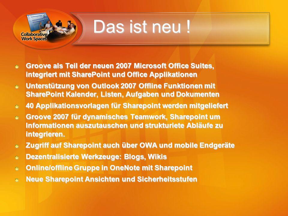 Das ist neu ! Groove als Teil der neuen 2007 Microsoft Office Suites, integriert mit SharePoint und Office Applikationen Unterstützung von Outlook 200