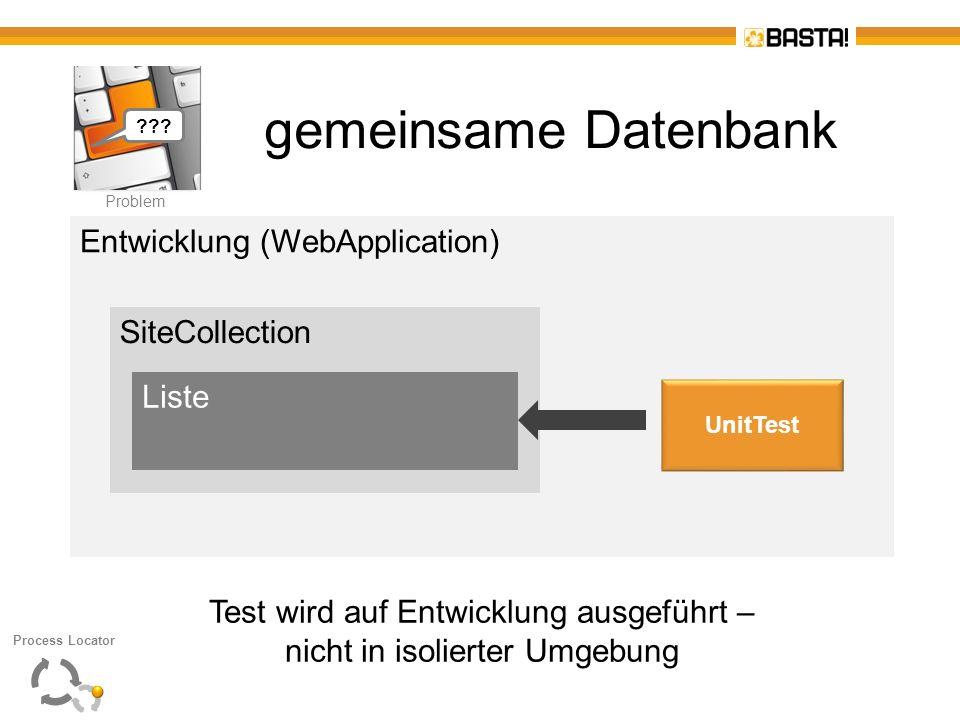 P Problem gemeinsame Datenbank Entwicklung (WebApplication) SiteCollection Liste UnitTest Test wird auf Entwicklung ausgeführt – nicht in isolierter U