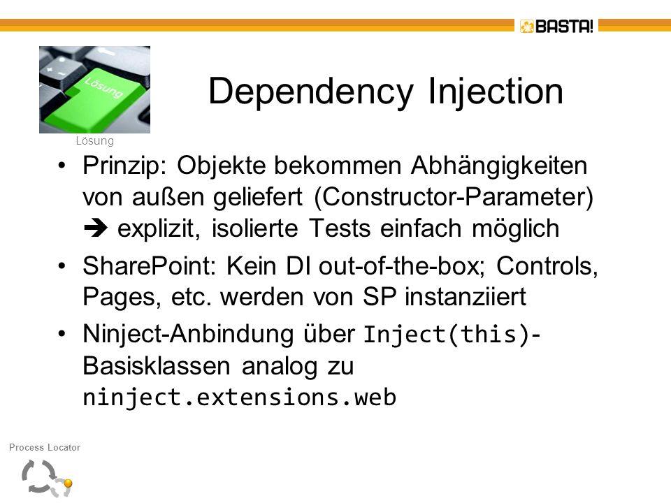 L Lösung Dependency Injection Prinzip: Objekte bekommen Abhängigkeiten von außen geliefert (Constructor-Parameter) explizit, isolierte Tests einfach m