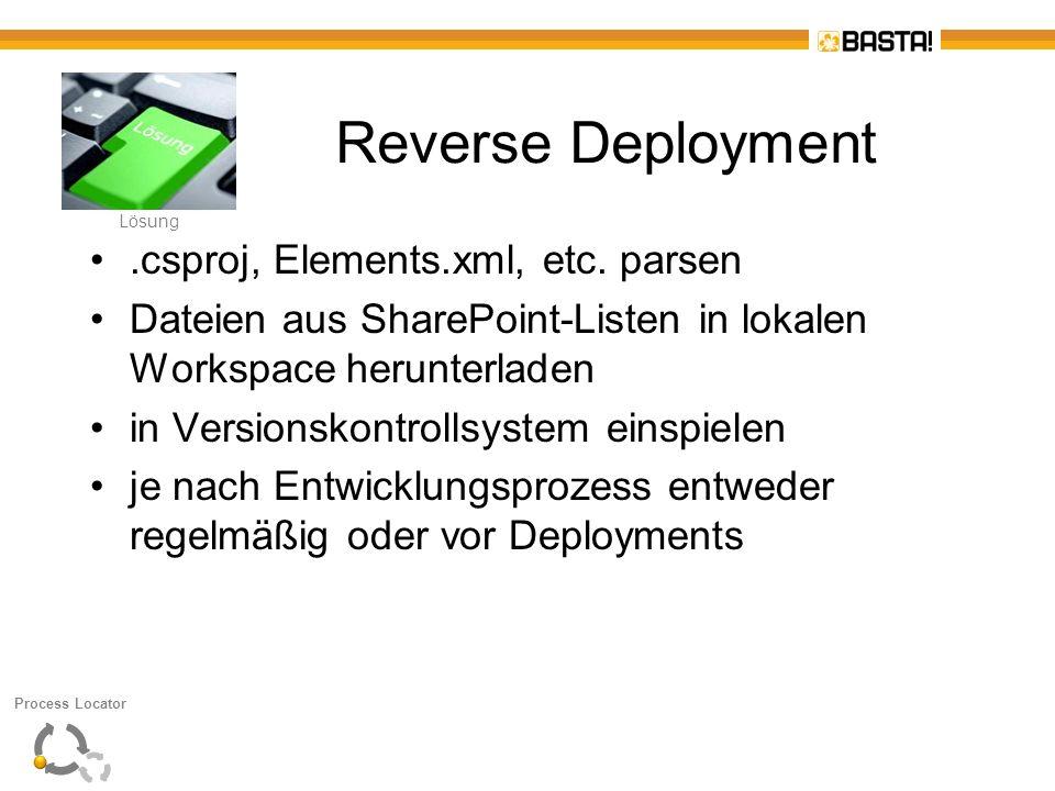 L Lösung Reverse Deployment.csproj, Elements.xml, etc. parsen Dateien aus SharePoint-Listen in lokalen Workspace herunterladen in Versionskontrollsyst