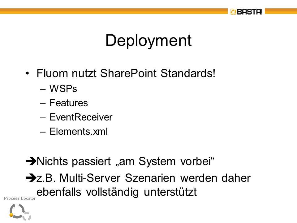 Deployment Fluom nutzt SharePoint Standards! –WSPs –Features –EventReceiver –Elements.xml Nichts passiert am System vorbei z.B. Multi-Server Szenarien