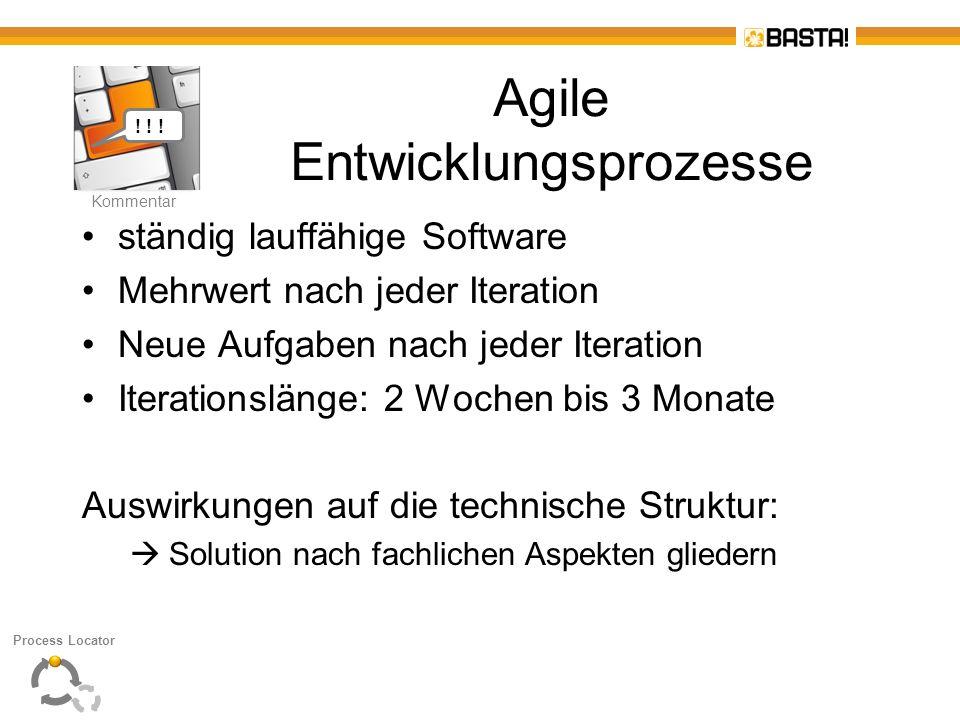 K Kommentar Agile Entwicklungsprozesse ständig lauffähige Software Mehrwert nach jeder Iteration Neue Aufgaben nach jeder Iteration Iterationslänge: 2