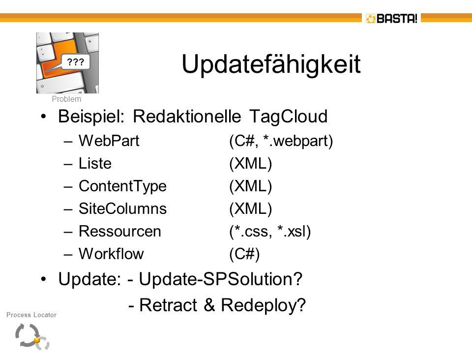 P Problem Updatefähigkeit Beispiel: Redaktionelle TagCloud –WebPart (C#, *.webpart) –Liste(XML) –ContentType(XML) –SiteColumns(XML) –Ressourcen(*.css,