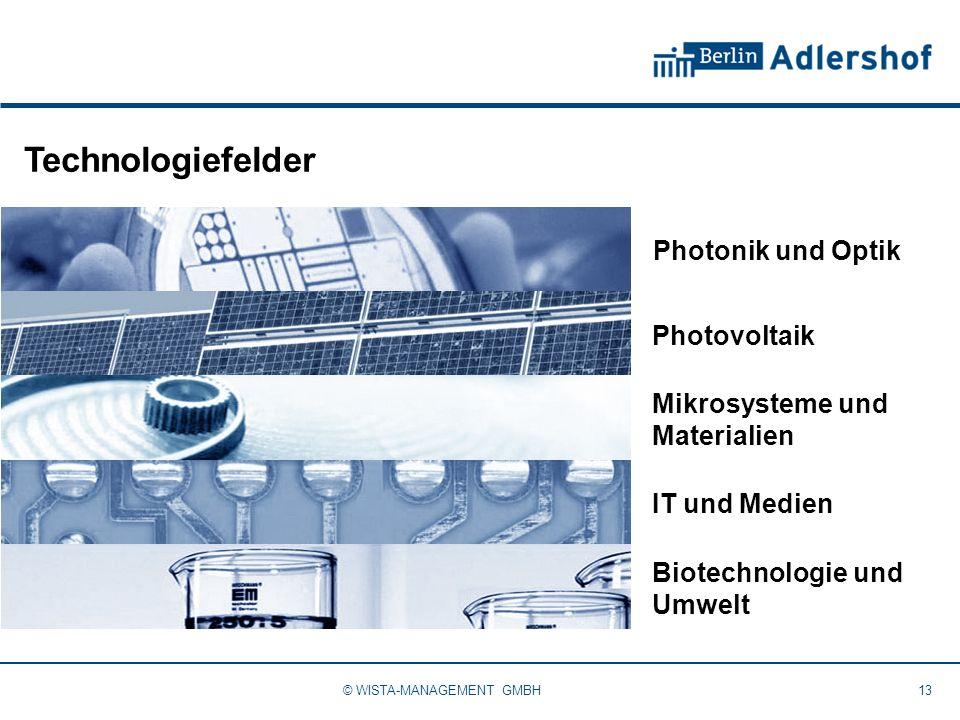 Technologiefelder 13© WISTA-MANAGEMENT GMBH Photonik und Optik IT und Medien Mikrosysteme und Materialien Biotechnologie und Umwelt Photovoltaik