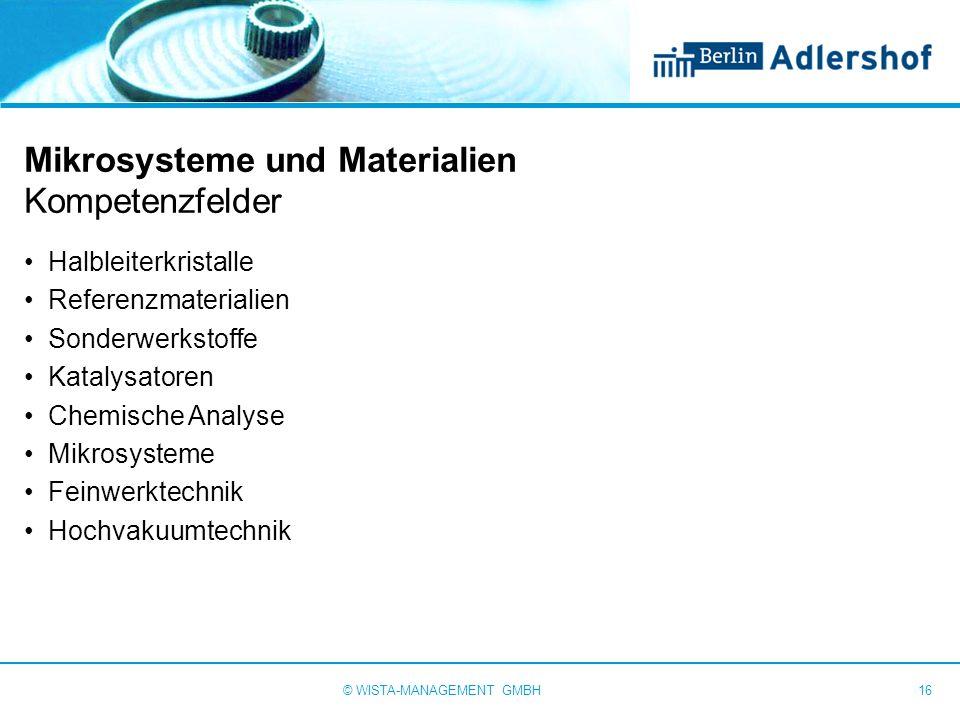 Mikrosysteme und Materialien Kompetenzfelder Halbleiterkristalle Referenzmaterialien Sonderwerkstoffe Katalysatoren Chemische Analyse Mikrosysteme Fei