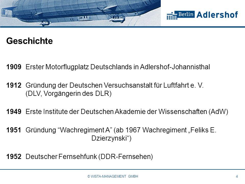 Geschichte 1909Erster Motorflugplatz Deutschlands in Adlershof-Johannisthal 1912Gründung der Deutschen Versuchsanstalt für Luftfahrt e. V. (DLV, Vorgä