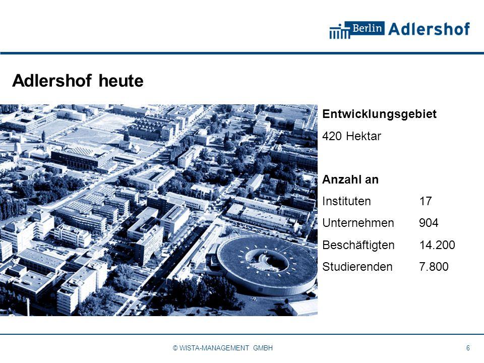 Adlershof heute 6© WISTA-MANAGEMENT GMBH Entwicklungsgebiet 420 Hektar Anzahl an Instituten17 Unternehmen904 Beschäftigten14.200 Studierenden7.800
