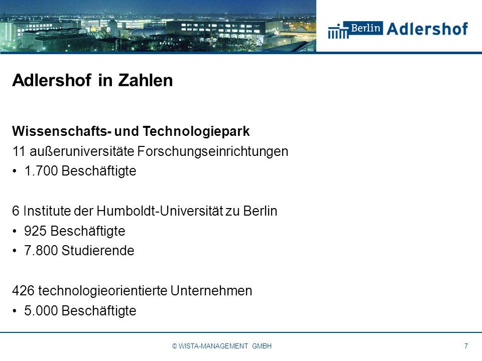 Adlershof in Zahlen Wissenschafts- und Technologiepark 11 außeruniversitäte Forschungseinrichtungen 1.700 Beschäftigte 6 Institute der Humboldt-Universität zu Berlin 925 Beschäftigte 7.800 Studierende 426 technologieorientierte Unternehmen 5.000 Beschäftigte 7© WISTA-MANAGEMENT GMBH